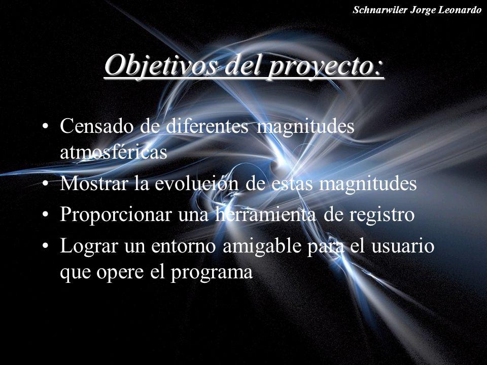 Schnarwiler Jorge Leonardo Objetivos del proyecto: Censado de diferentes magnitudes atmosféricas Mostrar la evolución de estas magnitudes Proporcionar