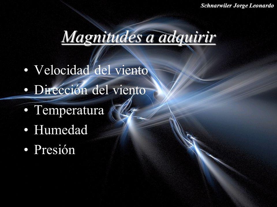 Schnarwiler Jorge Leonardo Magnitudes a adquirir Velocidad del viento Dirección del viento Temperatura Humedad Presión