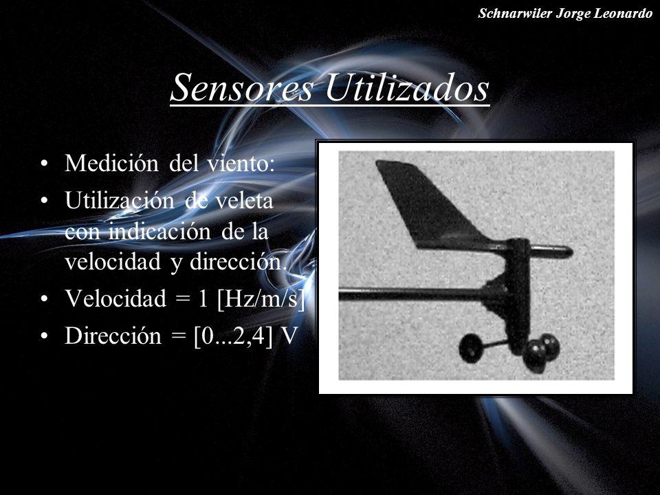 Schnarwiler Jorge Leonardo Sensores Utilizados Medición del viento: Utilización de veleta con indicación de la velocidad y dirección. Velocidad = 1 [H
