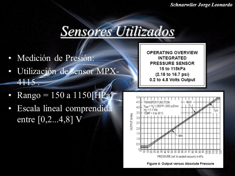 Schnarwiler Jorge Leonardo Sensores Utilizados Medición de Presión: Utilización de sensor MPX- 4115. Rango = 150 a 1150[HPa] Escala lineal comprendida