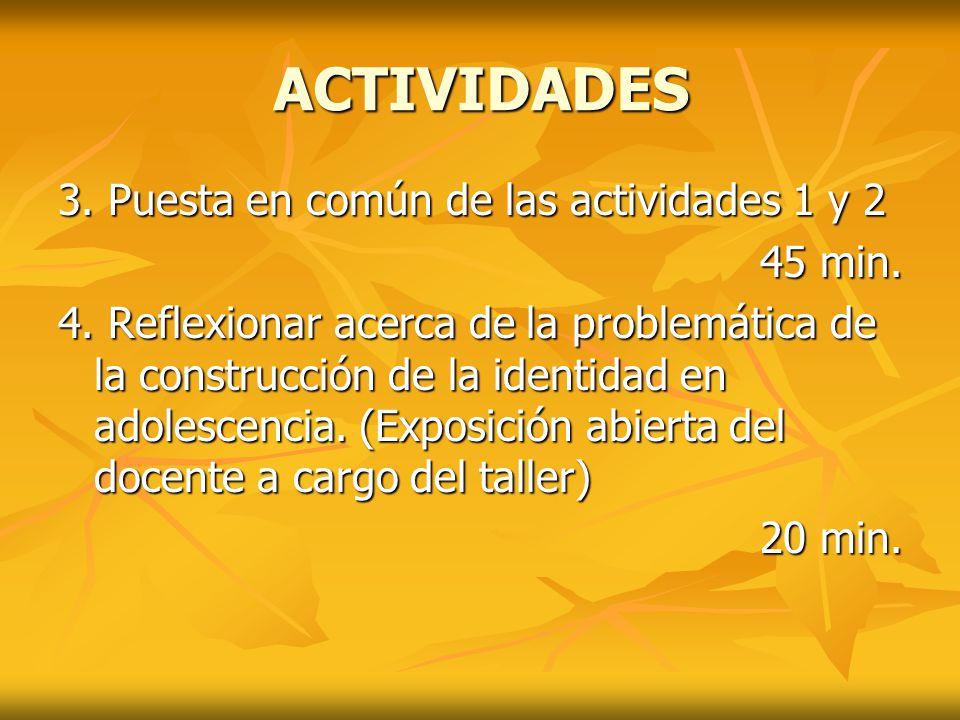 ACTIVIDADES 3. Puesta en común de las actividades 1 y 2 45 min. 4. Reflexionar acerca de la problemática de la construcción de la identidad en adolesc