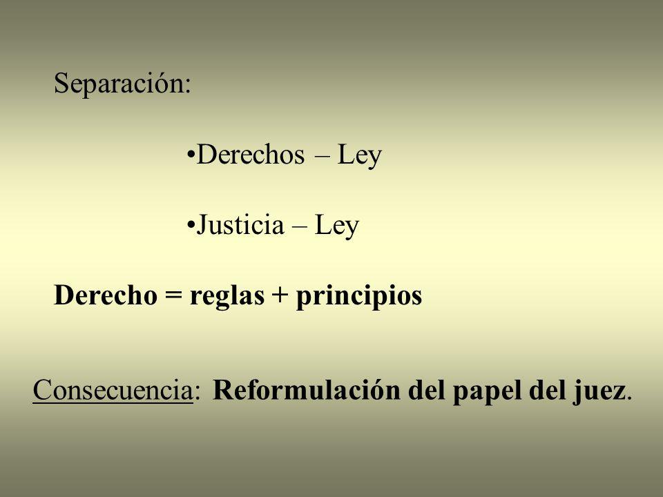 Separación: Derechos – Ley Justicia – Ley Derecho = reglas + principios Consecuencia: Reformulación del papel del juez.