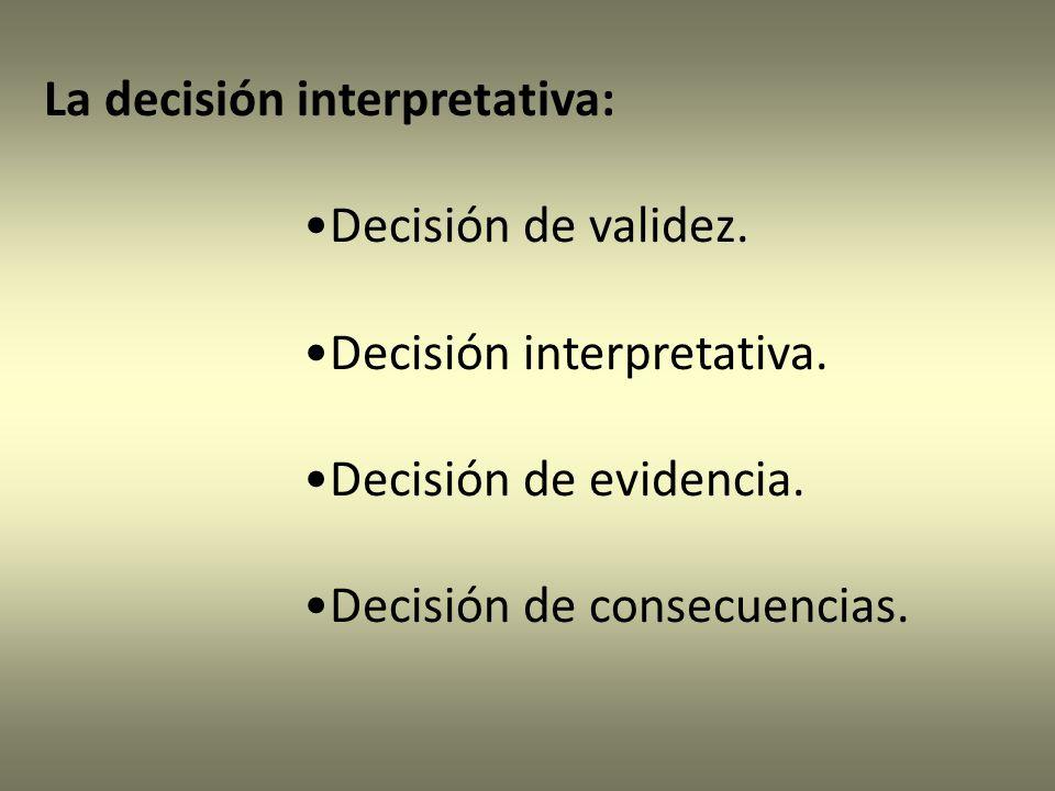 La decisión interpretativa: Decisión de validez.Decisión interpretativa.