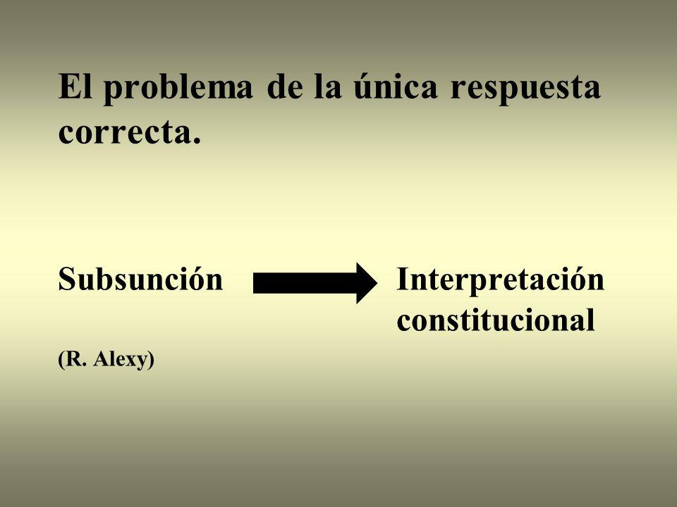 El problema de la única respuesta correcta. Subsunción Interpretación constitucional (R. Alexy)