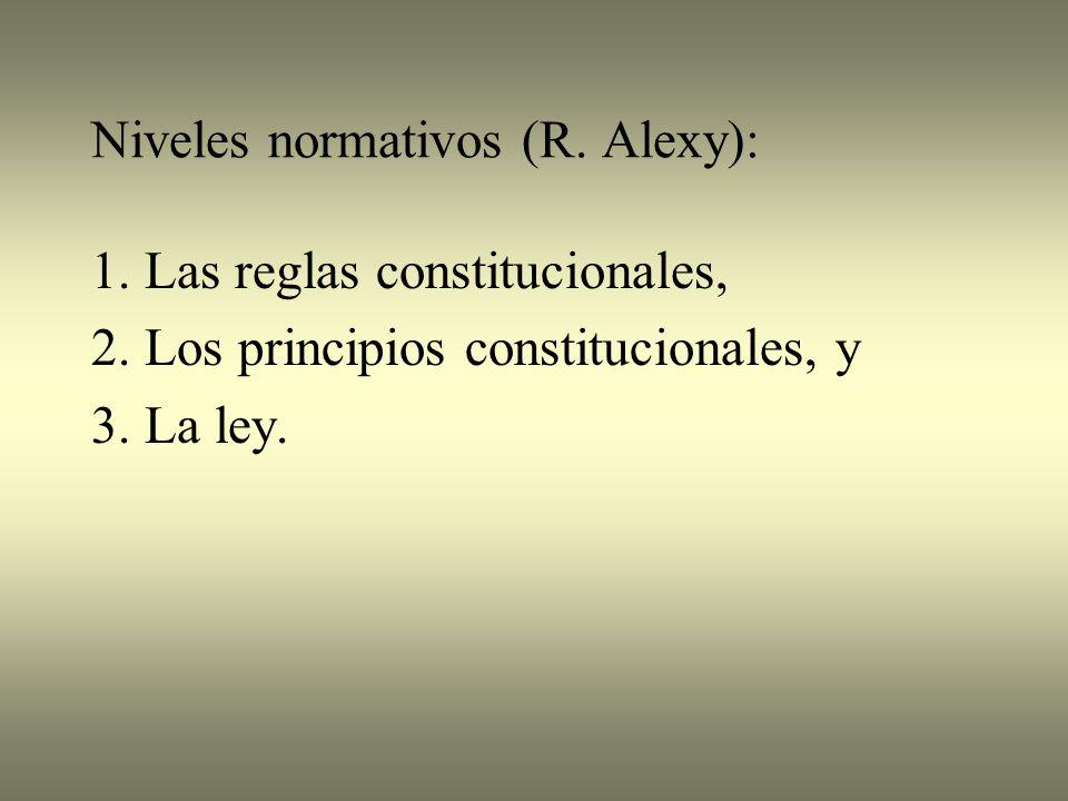 Niveles normativos (R.Alexy): 1. Las reglas constitucionales, 2.