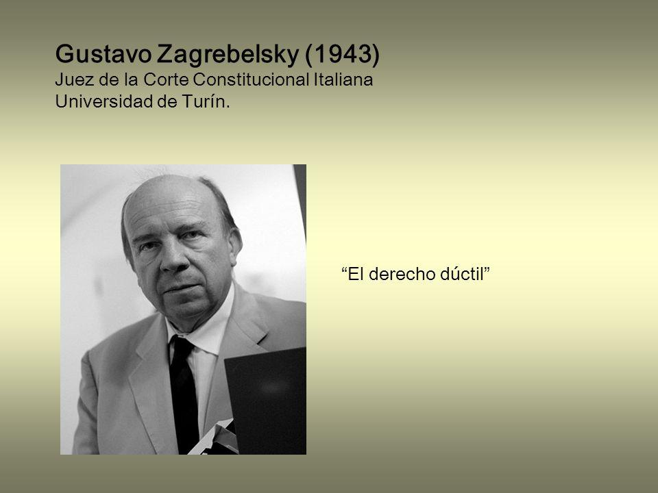 Gustavo Zagrebelsky (1943) Juez de la Corte Constitucional Italiana Universidad de Turín.
