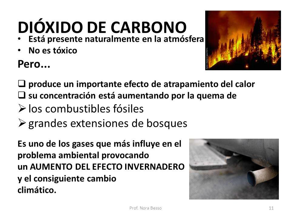 DIÓXIDO DE CARBONO Está presente naturalmente en la atmósfera No es tóxico Pero... produce un importante efecto de atrapamiento del calor su concentra