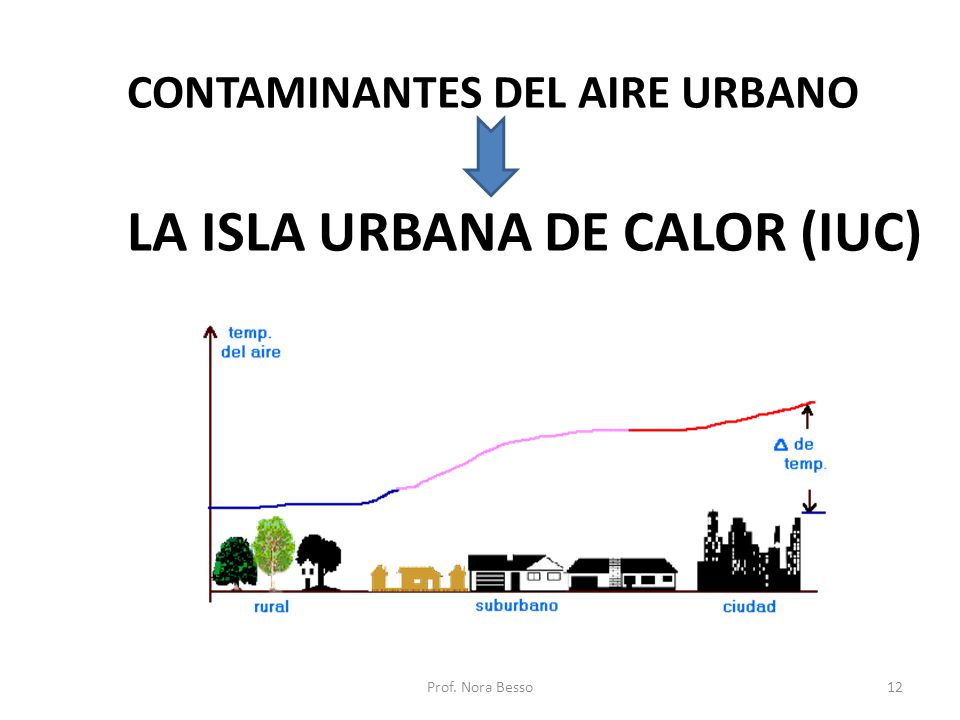 CONTAMINANTES DEL AIRE URBANO LA ISLA URBANA DE CALOR (IUC) 12Prof. Nora Besso