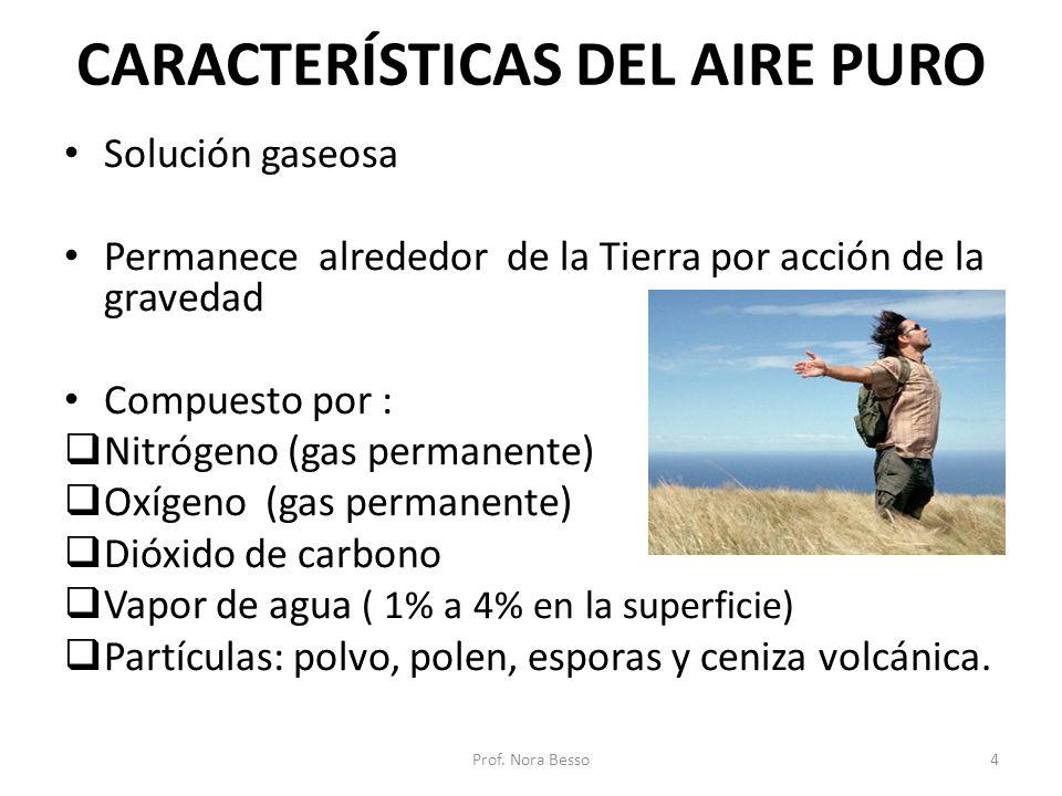 CARACTERÍSTICAS DEL AIRE PURO Solución gaseosa Permanece alrededor de la Tierra por acción de la gravedad Compuesto por : Nitrógeno (gas permanente) O
