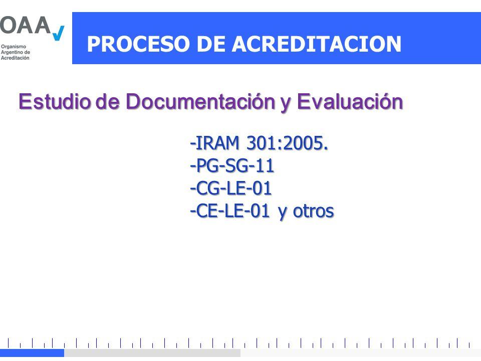 PROCESO DE ACREDITACION Estudio de Documentación y Evaluación -IRAM 301:2005. -PG-SG-11-CG-LE-01 -CE-LE-01 y otros