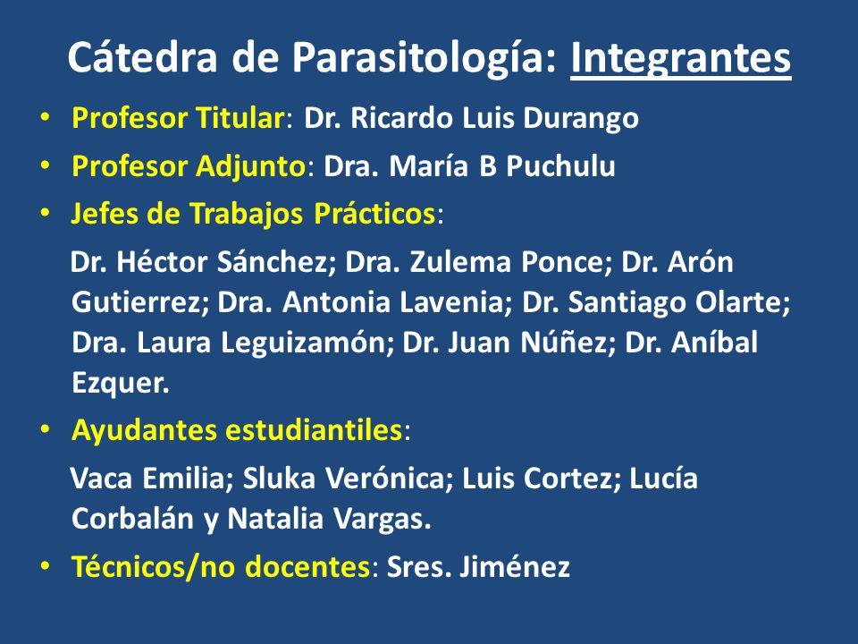 Cátedra de Parasitología: Integrantes Profesor Titular: Dr. Ricardo Luis Durango Profesor Adjunto: Dra. María B Puchulu Jefes de Trabajos Prácticos: D