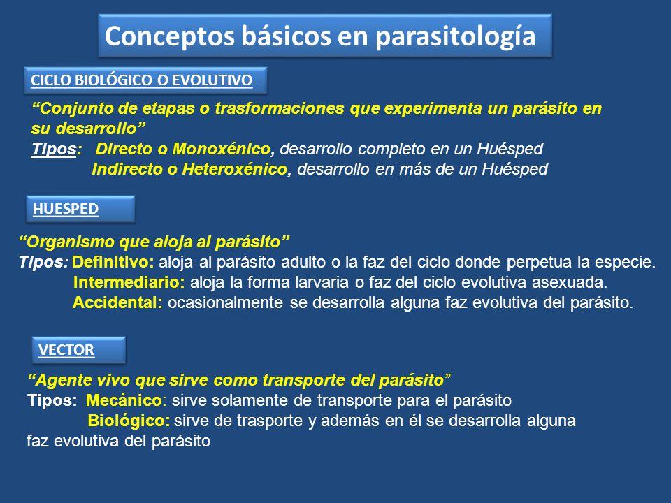 HUESPED Organismo que aloja al parásito Tipos: Definitivo: aloja al parásito adulto o la faz del ciclo donde perpetua la especie. Intermediario: aloja