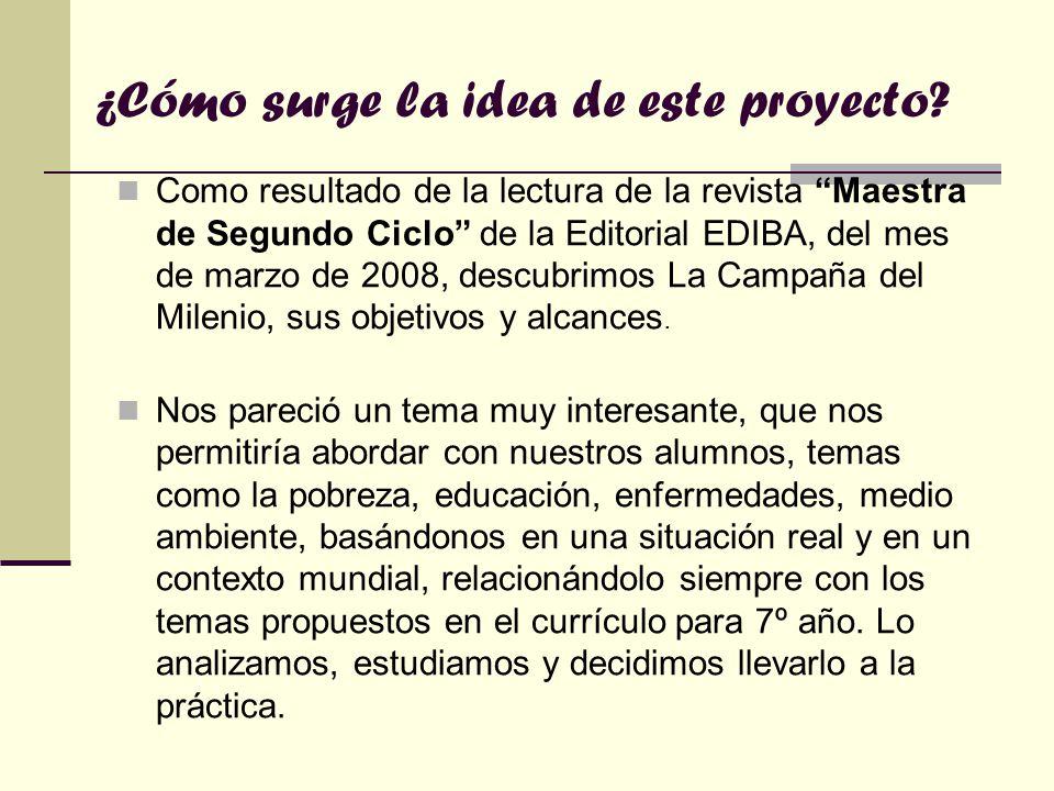 ¿Cómo surge la idea de este proyecto? Como resultado de la lectura de la revista Maestra de Segundo Ciclo de la Editorial EDIBA, del mes de marzo de 2