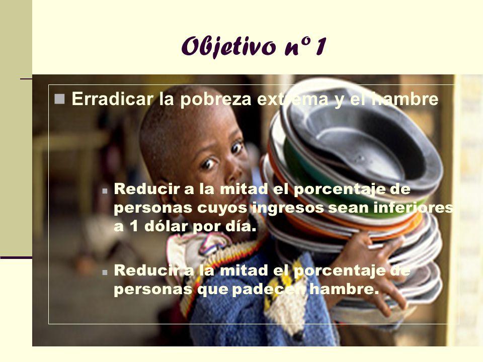 Objetivo nº 1 Erradicar la pobreza extrema y el hambre Reducir a la mitad el porcentaje de personas cuyos ingresos sean inferiores a 1 dólar por día.
