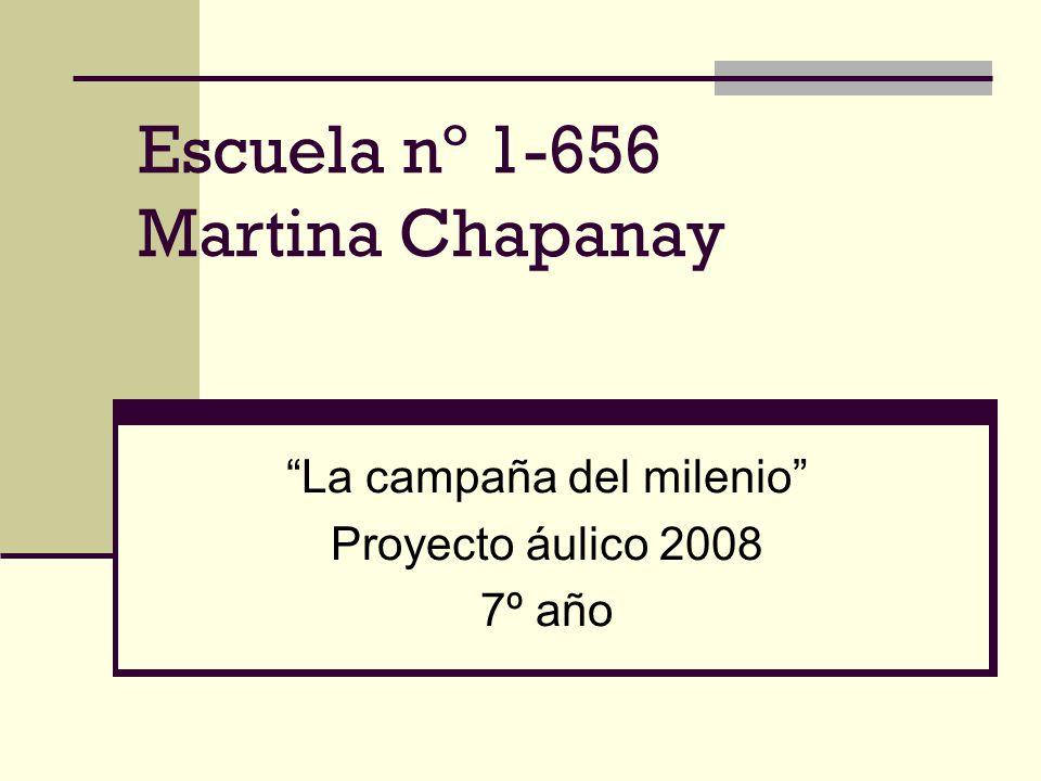 Datos de la escuela Nº 1-656 Nombre: Martina Chapanay Dirección: Shauman 1250 Villa Nueva – Guaymallén - Mendoza Directora: Adriana Nuñez Docentes de 7º año: Nilda Gimenez Teresa Ferreyra