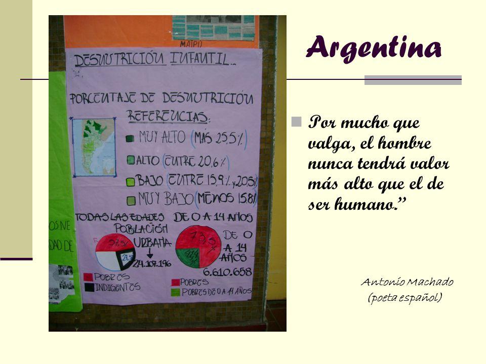 Argentina Por mucho que valga, el hombre nunca tendrá valor más alto que el de ser humano. Antonio Machado (poeta español)