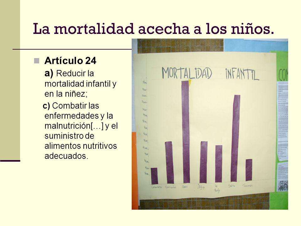 La mortalidad acecha a los niños. Artículo 24 a) Reducir la mortalidad infantil y en la niñez; c) Combatir las enfermedades y la malnutrición[…] y el