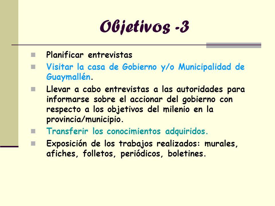 Objetivos -3 Planificar entrevistas Visitar la casa de Gobierno y/o Municipalidad de Guaymallén. Llevar a cabo entrevistas a las autoridades para info