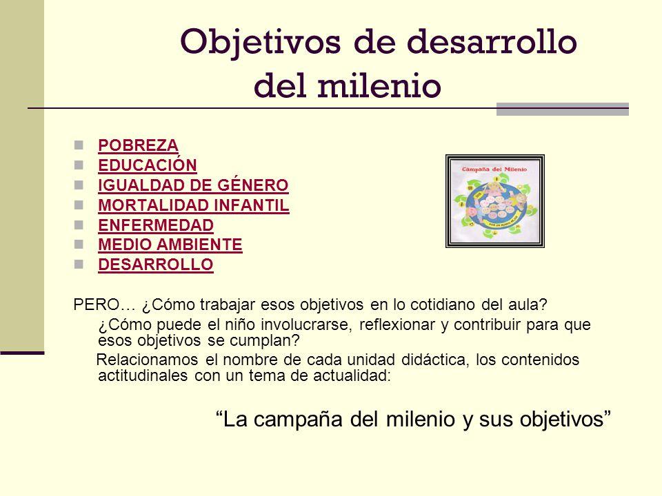 Objetivos de desarrollo del milenio POBREZA EDUCACIÓN IGUALDAD DE GÉNERO MORTALIDAD INFANTIL ENFERMEDAD MEDIO AMBIENTE DESARROLLO PERO… ¿Cómo trabajar