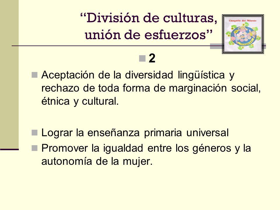 2 Aceptación de la diversidad lingüística y rechazo de toda forma de marginación social, étnica y cultural. Lograr la enseñanza primaria universal Pro
