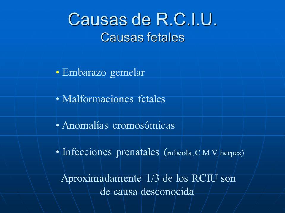 Causas de R.C.I.U. Causas placentarias y/o funiculares Depósitos de fibrina Microinfartos Lesiones ateromatosas Patología funicular: nudos, circulares