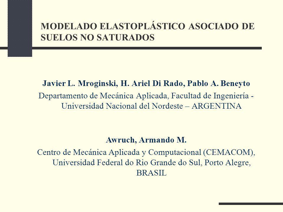 MODELADO ELASTOPLÁSTICO ASOCIADO DE SUELOS NO SATURADOS Javier L.