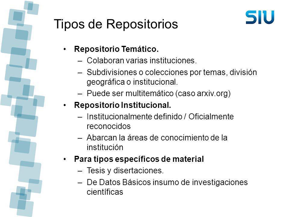 Tipos de Repositorios Repositorio Temático. –Colaboran varias instituciones. –Subdivisiones o colecciones por temas, división geográfica o institucion