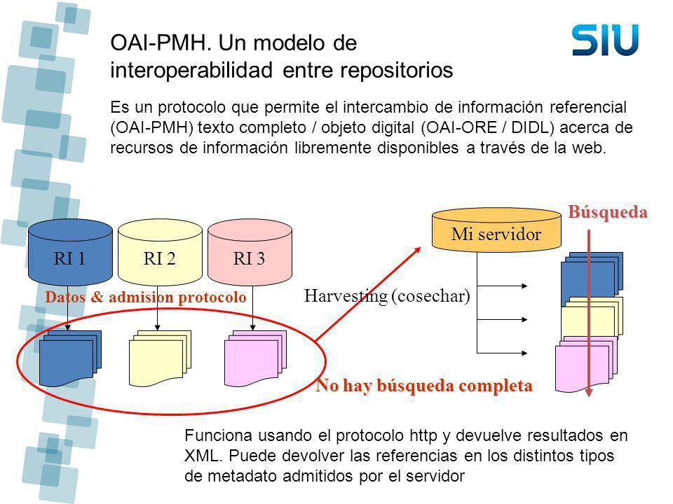 OAI-PMH. Un modelo de interoperabilidad entre repositorios Es un protocolo que permite el intercambio de información referencial (OAI-PMH) texto compl