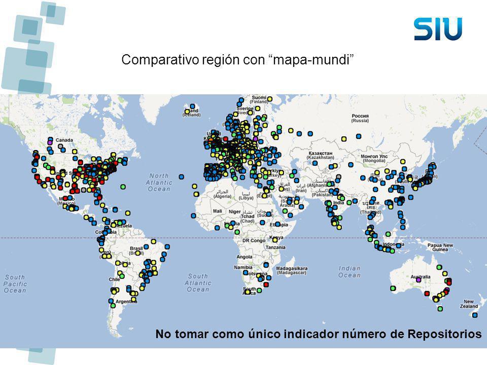 Comparativo región con mapa-mundi No tomar como único indicador número de Repositorios