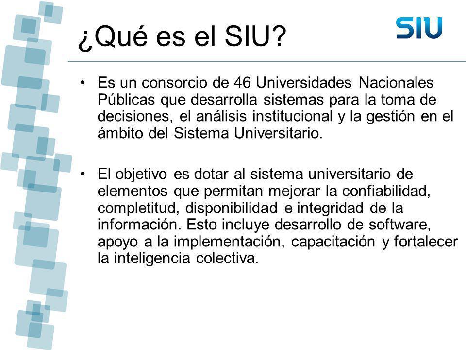 ¿Qué es el SIU? Es un consorcio de 46 Universidades Nacionales Públicas que desarrolla sistemas para la toma de decisiones, el análisis institucional