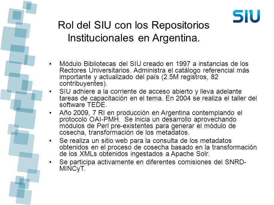 Rol del SIU con los Repositorios Institucionales en Argentina. Módulo Bibliotecas del SIU creado en 1997 a instancias de los Rectores Universitarios.