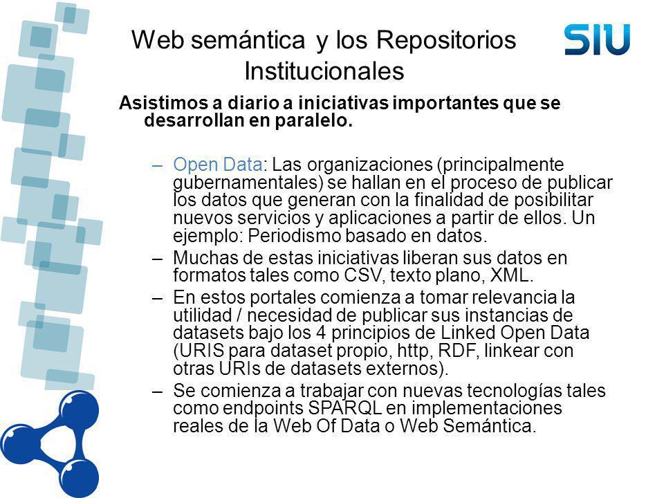 Web semántica y los Repositorios Institucionales Asistimos a diario a iniciativas importantes que se desarrollan en paralelo. –Open Data: Las organiza