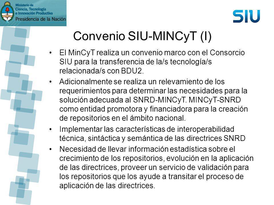 Convenio SIU-MINCyT (I) El MinCyT realiza un convenio marco con el Consorcio SIU para la transferencia de la/s tecnología/s relacionada/s con BDU2. Ad