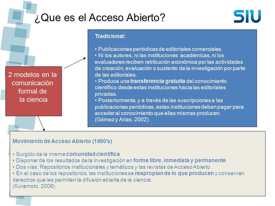 ¿Que es el Acceso Abierto? 2 modelos en la comunicación formal de la ciencia Tradicional: Publicaciones periódicas de editoriales comerciales. Ni los