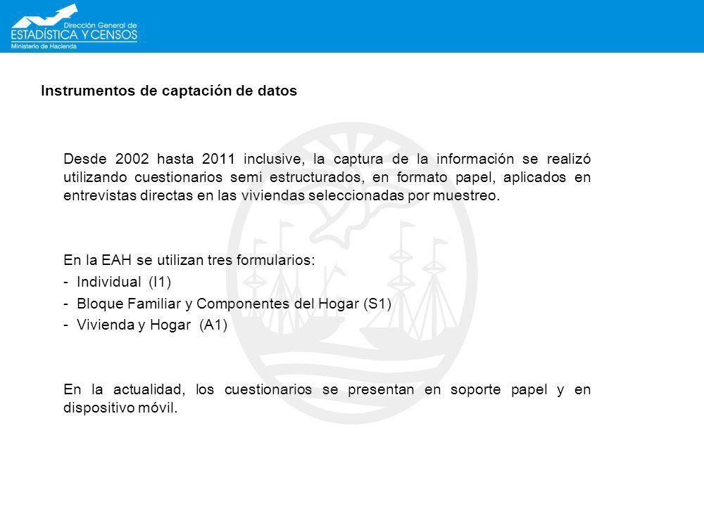 Instrumentos de captación de datos Desde 2002 hasta 2011 inclusive, la captura de la informaci ó n se realiz ó utilizando cuestionarios semi estructur
