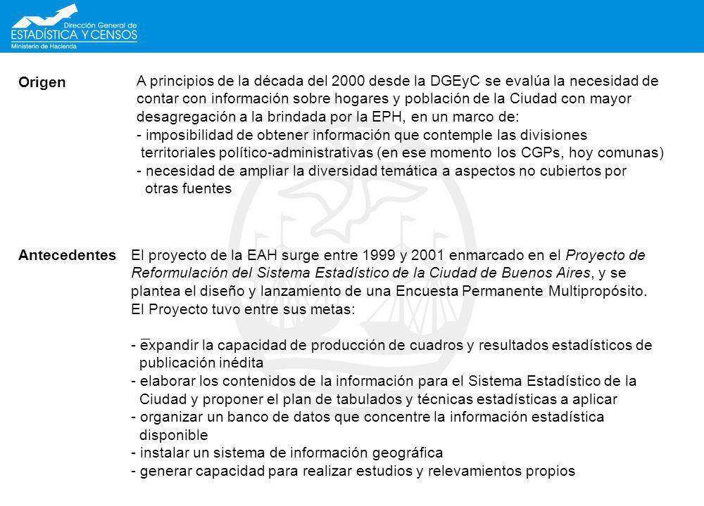 Origen A principios de la década del 2000 desde la DGEyC se evalúa la necesidad de contar con información sobre hogares y población de la Ciudad con m