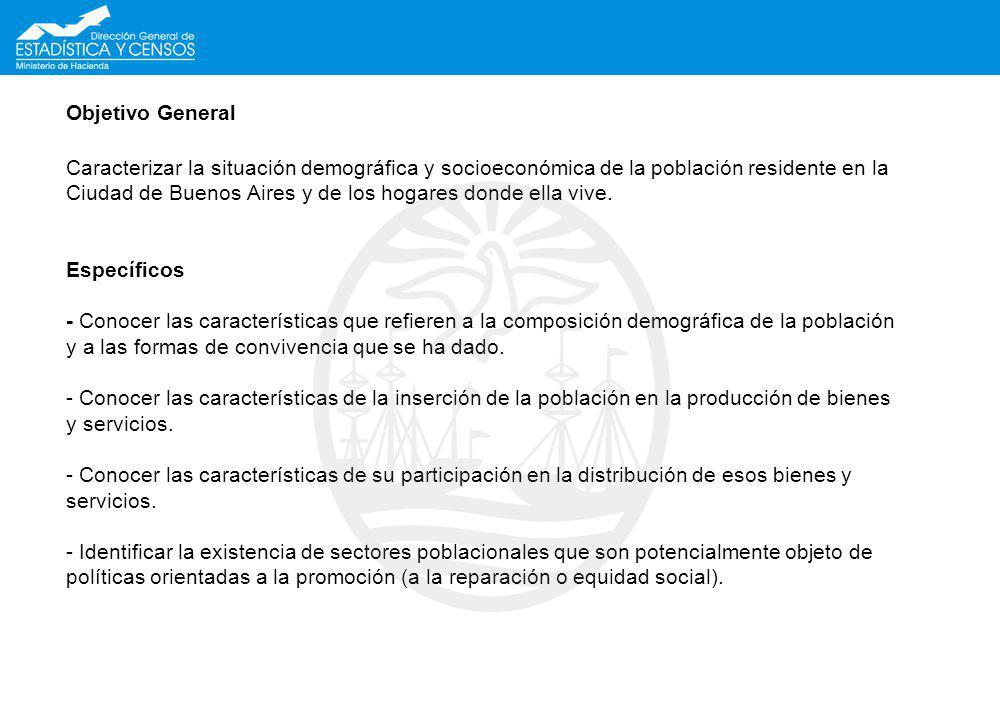 Objetivo General Caracterizar la situación demográfica y socioeconómica de la población residente en la Ciudad de Buenos Aires y de los hogares donde