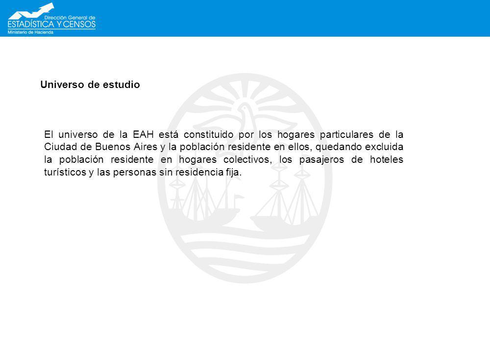 Universo de estudio El universo de la EAH está constituido por los hogares particulares de la Ciudad de Buenos Aires y la población residente en ellos
