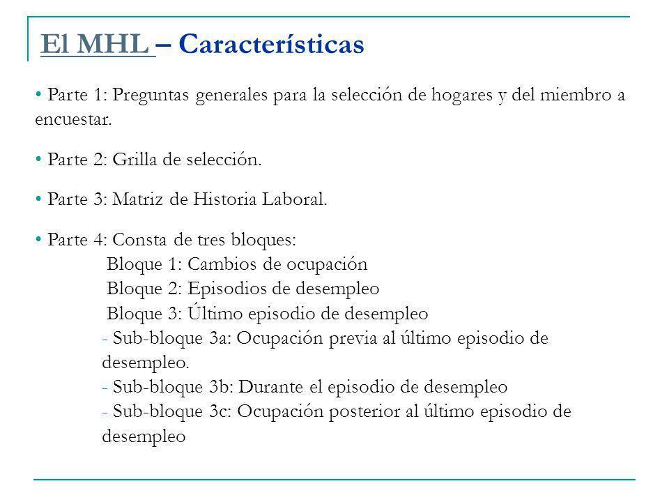 El MHL El MHL – Características Parte 1: Preguntas generales para la selección de hogares y del miembro a encuestar.