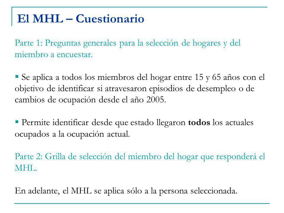 El MHL – Cuestionario Parte 1: Preguntas generales para la selección de hogares y del miembro a encuestar.