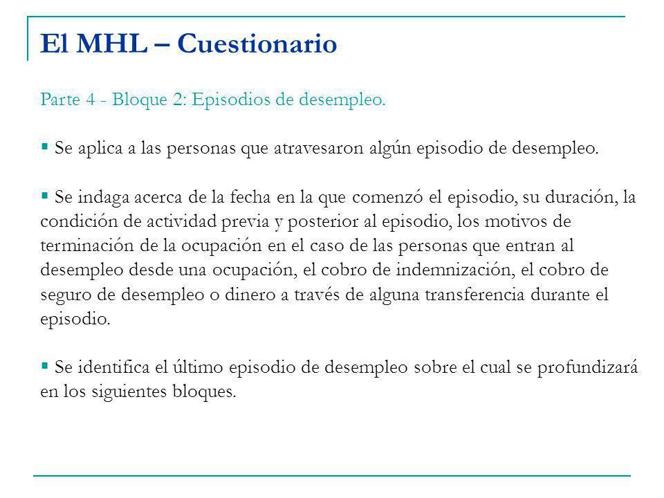 El MHL – Cuestionario Parte 4 - Bloque 2: Episodios de desempleo.