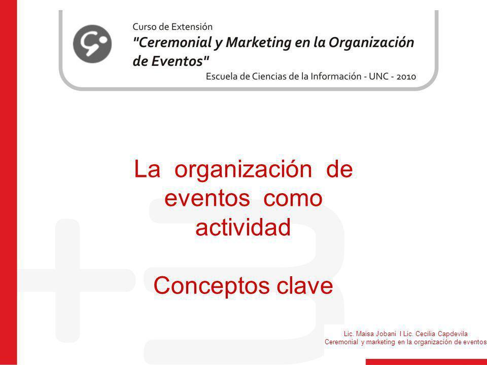 Lic. Maisa Jobani I Lic. Cecilia Capdevila Ceremonial y marketing en la organización de eventos La organización de eventos como actividad Conceptos cl