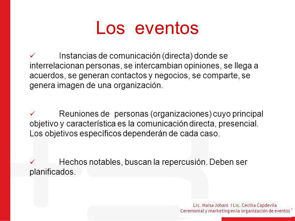 Lic. Maisa Jobani I Lic. Cecilia Capdevila Ceremonial y marketing en la organización de eventos Los eventos Instancias de comunicación (directa) donde