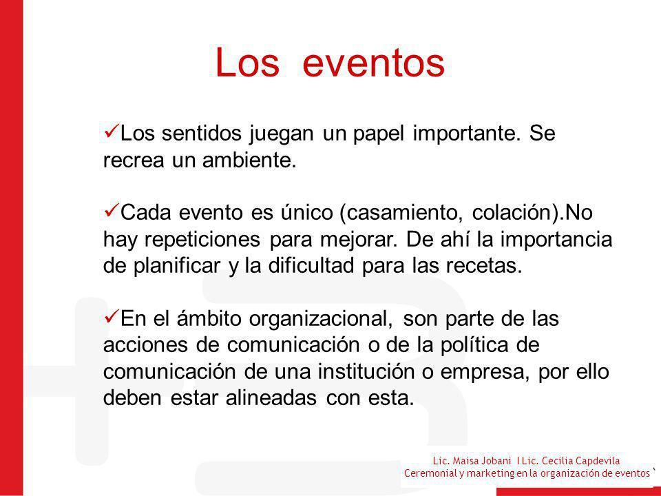 Lic. Maisa Jobani I Lic. Cecilia Capdevila Ceremonial y marketing en la organización de eventos Los eventos Los sentidos juegan un papel importante. S