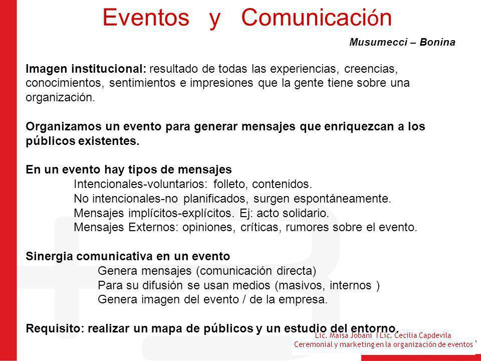 Lic. Maisa Jobani I Lic. Cecilia Capdevila Ceremonial y marketing en la organización de eventos Eventos y Comunicaci ó n Musumecci – Bonina Imagen ins