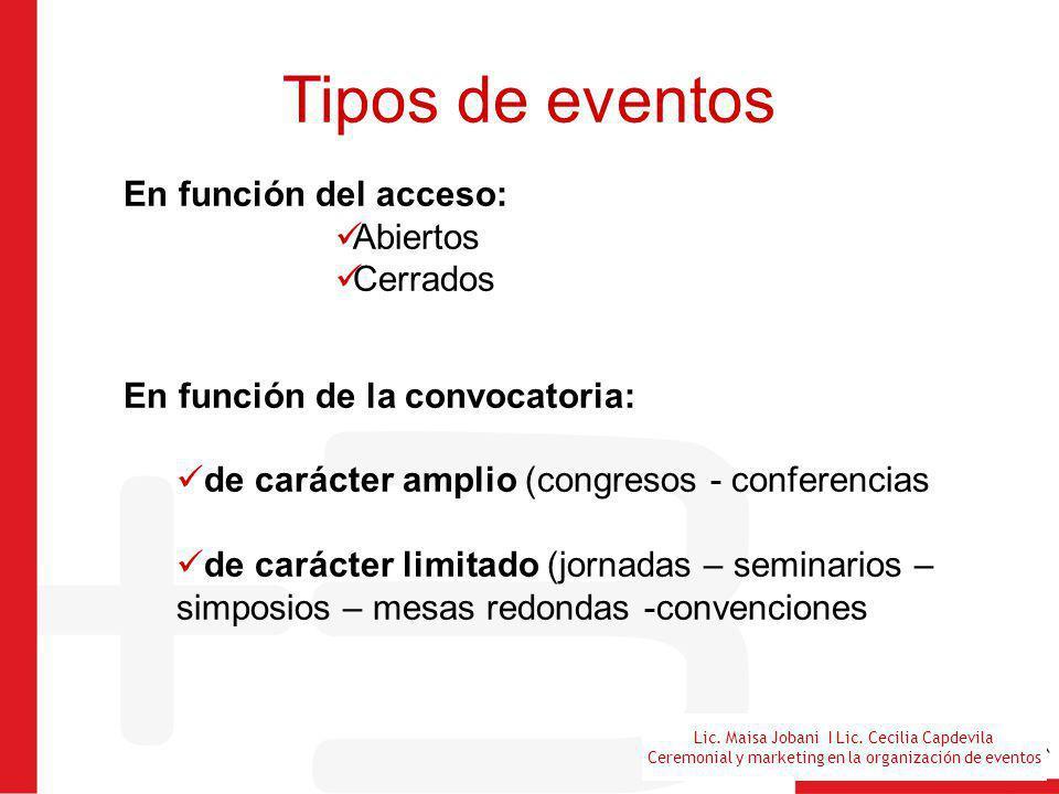 Lic. Maisa Jobani I Lic. Cecilia Capdevila Ceremonial y marketing en la organización de eventos Tipos de eventos En función del acceso: Abiertos Cerra