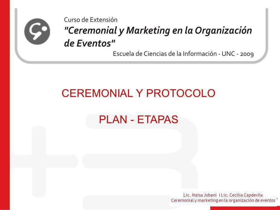 Lic. Maisa Jobani I Lic. Cecilia Capdevila Ceremonial y marketing en la organización de eventos CEREMONIAL Y PROTOCOLO PLAN - ETAPAS