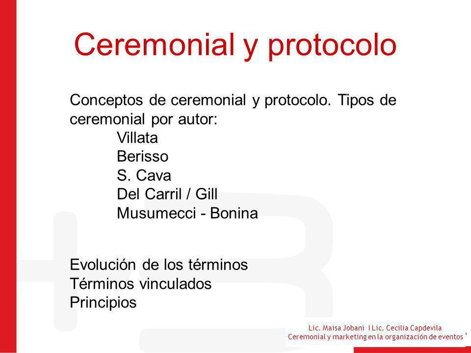 Lic. Maisa Jobani I Lic. Cecilia Capdevila Ceremonial y marketing en la organización de eventos Ceremonial y protocolo Conceptos de ceremonial y proto