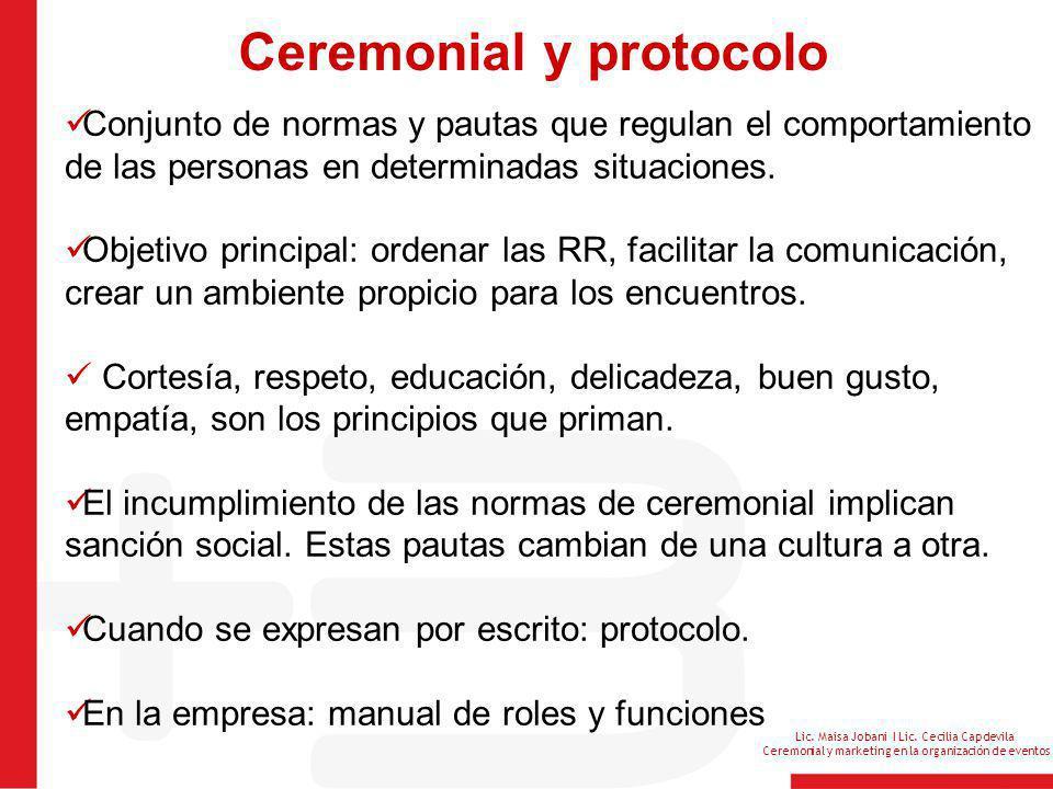Lic. Maisa Jobani I Lic. Cecilia Capdevila Ceremonial y marketing en la organización de eventos Ceremonial y protocolo Conjunto de normas y pautas que