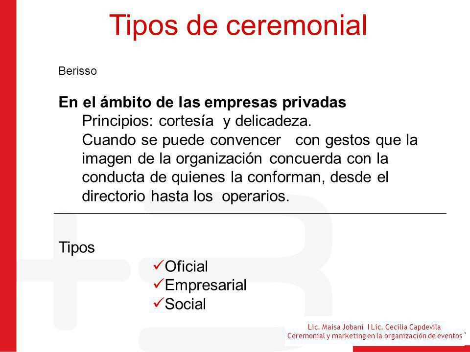 Lic. Maisa Jobani I Lic. Cecilia Capdevila Ceremonial y marketing en la organización de eventos Tipos de ceremonial Berisso En el ámbito de las empres